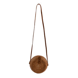 Bali Collection - Handcrafted Rattan Shoulder Bag with Strap (Size:24x24x11Cm) - Brown