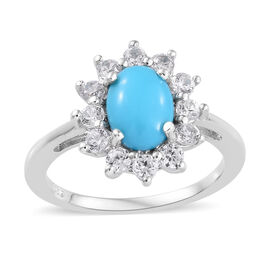 2 Carat Arizona Sleeping Beauty Turquoise and Cambodian Zircon Halo Ring in Sterling Silver