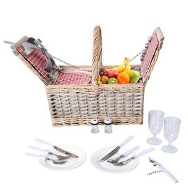 Picnic Basket for 2 People (Includes 2 x Ceramic plates, 2 x Goblets, 2 x Knife, 2 x Fork, 2 x Spoon