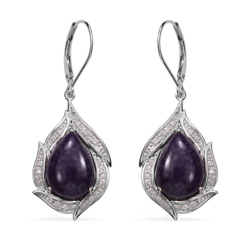 13.15 Ct Sugilite and Diamond Drop Earrings with Lever Back in Rhodium Plated Silver