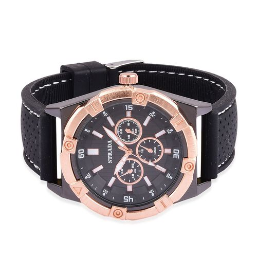 STRADA Japanese Movement Black Dial Water Resistant Watch in Rose Gold Tone with Stainless Steel Back and Black Rubber Strap