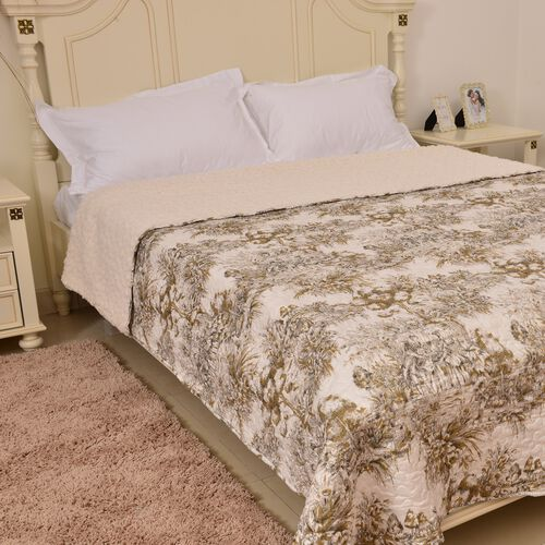 King Size Supersoft Sherpa Quilt - Toile de Jouy Romantic Print in Brown and Beige Tones (Size 260X240 Cm)