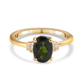 Russian Diopside and White Diamond Ring in 14K Gold Overlay Sterling Silver 1.30 Ct.