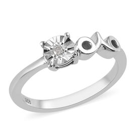 Diamond Zodiac-Aries Ring in Platinum Overlay Sterling Silver