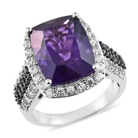 13 Carat Amethyst and Multi Gemstone Cluster Halo Ring in Platinum Plated Silver 7.01 Grams