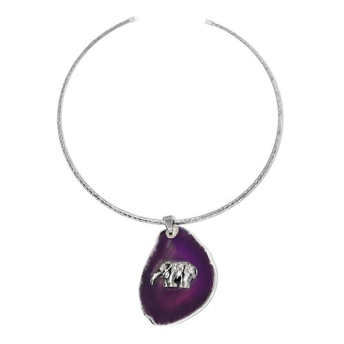 Purple Agate Elephant Embellished Charm Choker Necklace with Pendant (Size 16) in Silver Bond 170.00