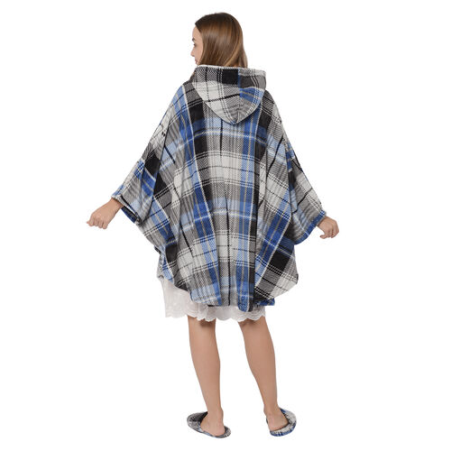 2 Piece Set - Check Pattern Flannel Hooded Wrap (Free Size, L: 90cm) and Slipper (Size 42) - Grey, Blue and Black