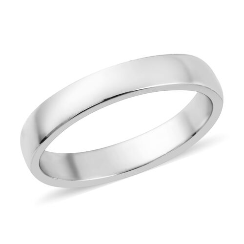 Supreme Finish 4mm Plain Band Ring in Platinum Plated Sterling Silver
