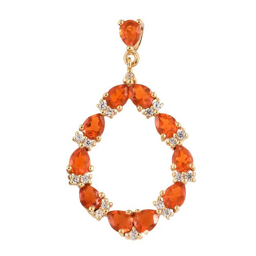 WEBEX- Jalisco Fire Opal (Pear), Natural Cambodian Zircon Pendant in 14K Gold Overlay Sterling Silver 1.500  Ct.