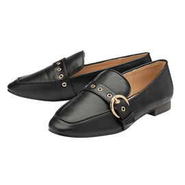 Ravel Ramona Loafers with gold Tone Buckle Detail in Black