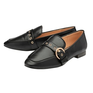 Ravel Ramona Loafers with Gold Tone Buckle Detail in Black (Size 3)