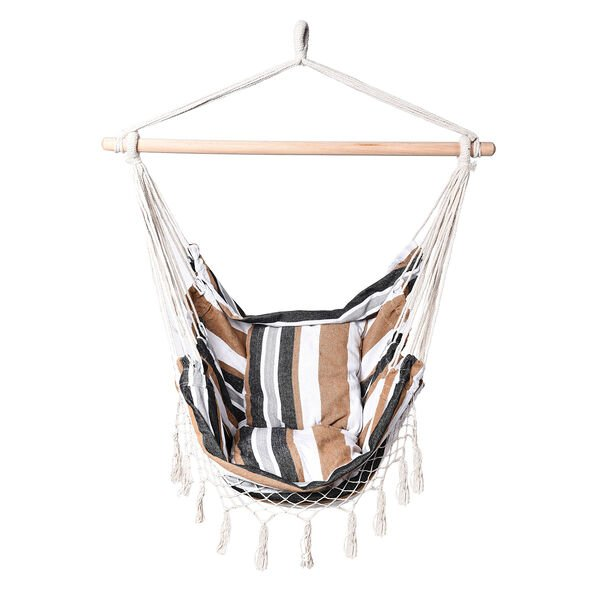 Striped Hanging Rope Hammock Swing Seat with 2 Cushions (Size 100x130cm) - White and Multi Colour