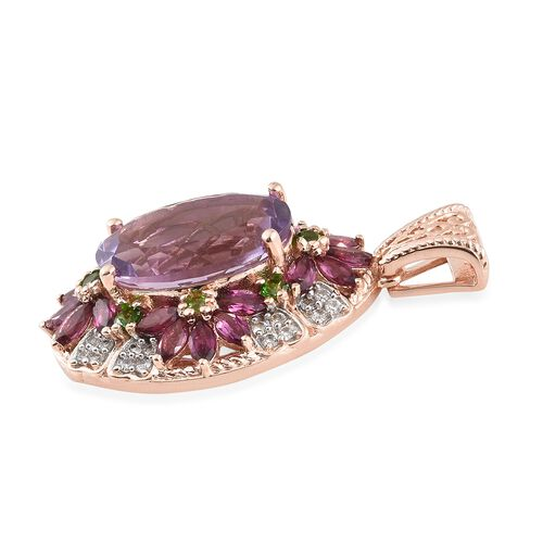 Rose De France Amethyst (Ovl 11.60 Ct), Rhodolite Garnet and Russian Diopside Pendant in Rhodium and Rose Gold Overlay Sterling Silver 16.250 Ct. Silver wt 8.66 Gms.