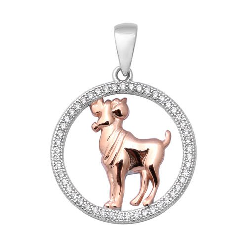 ELANZA Simulated Diamond Zodiac-Aries Pendant in Plain and Rose Gold Overlay Sterling Silver