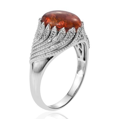 Baltic Amber (Ovl) Ring in Platinum Overlay Sterling Silver 1.750 Ct. Silver wt 5.79 Gms.