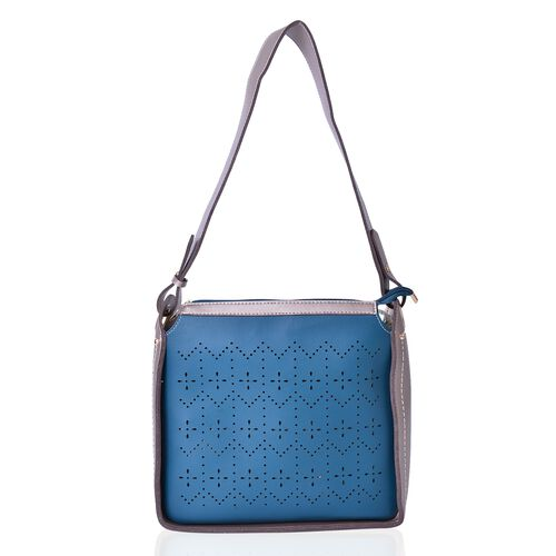 Teal and Light Grey Colour Cutout Pattern Shoulder Bag (Size 28X28X10 Cm)