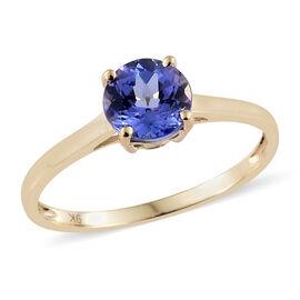 9K Yellow Gold AA Tanzanite (Rnd) Solitaire Ring 0.750 Ct.