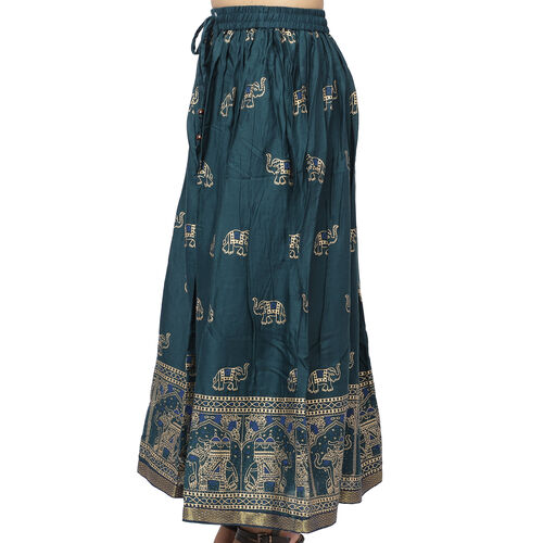 Floral Block Printed Long Skirt (One Size) - Teal