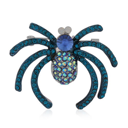 Simulated Tourmaline and Multi Colour Austrian Crystal Spider Brooch in Silver Tone