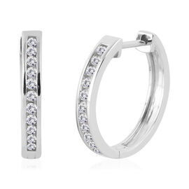New York Close Out 14K White Gold Diamond (Rnd) (SI/G-H) Hoop Earrings (with Clasp Lock) 0.330 Ct.Gold Wt 4 Gms
