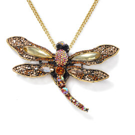 Multi Colour Austrian Crystal Dragon Fly Brooch or Pendant With Chain (Size 24) in Gold Plated