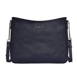 Assots London LOUISA - 100% Genuine Leather Handbag with Shoulder Strap (30x7x24cm) - Navy