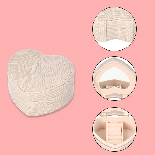Grace Collection - Lizard Skin Pattern Heart Shaped  Anti-Tarnish Jewellery Box with Inside Mirror, Ring Rows & 2 Sections (Size 10.5x10x6cm) - Ivory