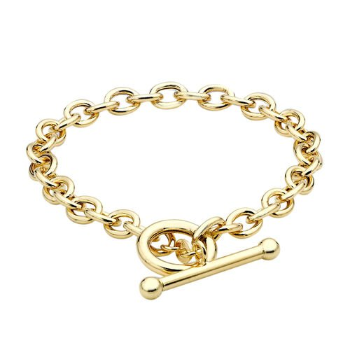 Hatton Garden Close Out Oval Belcher T Bar Bracelet in 9K Gold 7 Inch