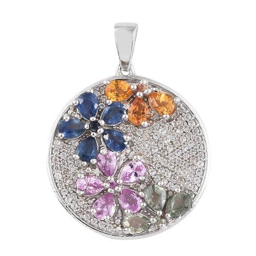 Rainbow Sapphire (Pear), Natural Cambodian Zircon Floral Pendant in Platinum Overlay Sterling Silver
