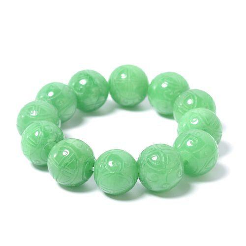 Extremely Rare Carved Green Jade (Rnd 16mm-18mm) Beads Stretchable Bracelet (Size 6.5 to 9) 517.500 Ct.