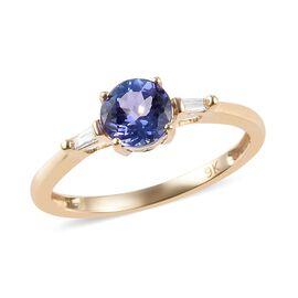 9K Yellow Gold Tanzanite and Diamond (I3/G-H) Ring 0.85 Ct.