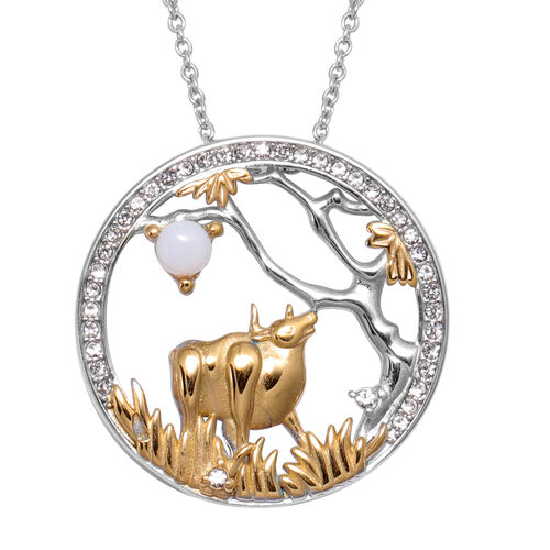 Opalite and White Austrian Crystal Ox Pendant with Chain (Size 24) in Gold Tone and Plain Stainless