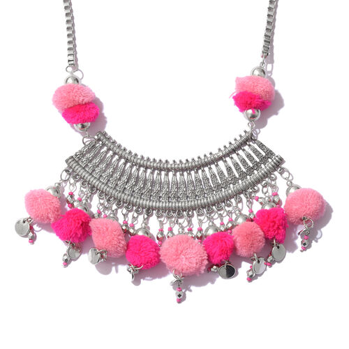 Trendy Boho Style Pom-Pom Necklace (Size 22 with 2 inch Extender) in Silver Plated