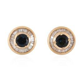 ILIANA 18K Yellow Gold AAA Monte Belo Indicolite (Rnd), Diamond (SI/G-H) Stud Earrings (with Screw Back) 1.250 Ct.