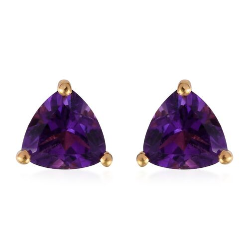1.25 Ct Amethyst Solitaire Stud Earrings in Gold Plated Sterling Silver