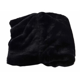 Solid Black Faux Fur Hooded Cross-Over Scraf (12x100cm)