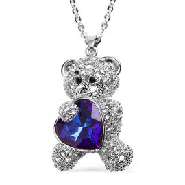 Simulated Bi-Colour Purple and Blue Sapphire, Black and White Austrian Crystal Teddy Bear with Heart