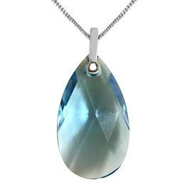 J Francis Aquamarine Colour Swarovski Crystal Solitaire Pendant with Chain in Sterling Silver
