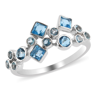 Sajen Silver GEM HEALING Collection - Swiss Blue Topaz Celestial  Doublet Quartz Ring in Rhodium Ove