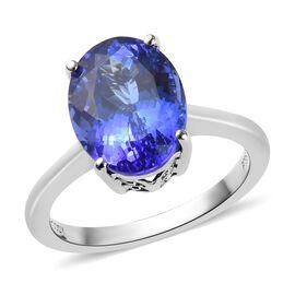 RHAPSODY 950 Platinum AAAA Tanzanite (Ovl) Solitaire Ring 5.00 Ct, Platinum wt 5.15 Gms