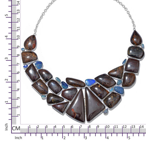 One Off A Kind- Boulder Opal Rock and Opal Double Necklace (Size 18 with 1 inch Extender) in Sterling Silver 590.150 Ct. Silver wt. 66.57 Gms.