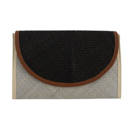 Bali Collection Padan Leaf Woven Flap Clutch Handbags (Size:56x35x50Cm) - Black and White