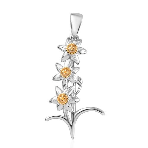 Platinum and Yellow Gold Overlay Sterling Silver Three-Flower Pendant