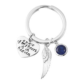 Charms De Memoire Sterling Silver Simulated Blue Sapphire, Angel Wing and Heart Charms in Key Chain