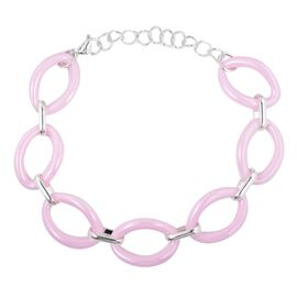 One Time Deal- Pink Ceramic Oval Link Bracelet (Size 8 with 2 inch Extender) with Adjustable Link