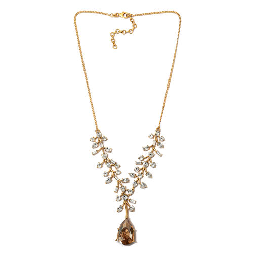 J Francis - Crystal from Swarovski Golden Shadow Crystal and White Crystal Necklace (Size 20) in 14K Gold Overlay Sterling Silver, Silver wt 26.59 Gms