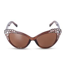 Shiny Brown Frame Cats Eye Sunglasses with Simulated Crystals and UV Protection Lenses Including Hard Plastic Black Pouch