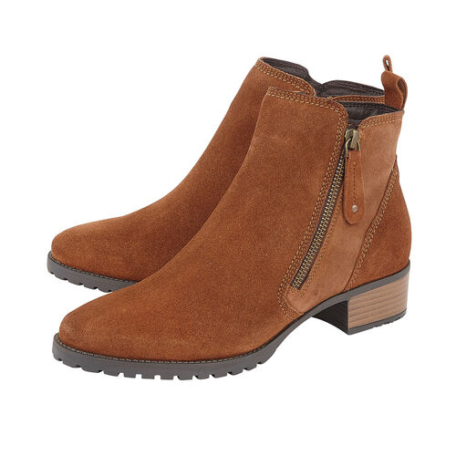 Lotus Stressless Tan Suede Samara Ankle Boots (Size 3)
