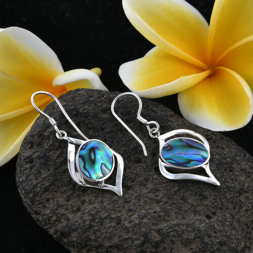 One Time Mega Deal-Royal Bali Collection Abalone Shell (Ovl), Hook Earrings in Sterling Silver