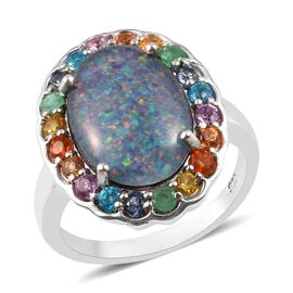 Limited Edition- Australian Boulder Opal (Ovl 14x10mm) and Multi Gemtsone Ring in Platinum Overlay S